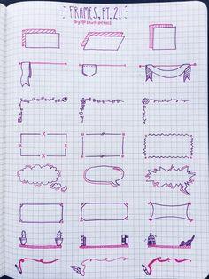 Planner doodles, boxes and frames for bullet journal decoration - Bullet Journal Notes, Bullet Journal Ideas Pages, Bullet Journal Inspiration, Pretty Notes, Sketch Notes, Note Taking, School Notes, Blackwork, Crafts