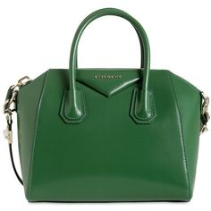 GIVENCHY Small Antigona Shiny Smooth Leather Bag ($1,375) ❤ liked on Polyvore featuring bags, handbags, shoulder bags, purses, bolsas, accessories, hand bags, zip purse, green shoulder bag and givenchy handbags