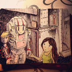 """""""#color #robot #girl #end #moleskine #moleskineart #doodle #doodleart #art #artist #sketches #sketchbook #illustration #monster #dope #drawing #draw…"""""""