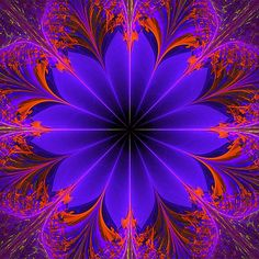 Mystical Neon Fractal Mandala More info about the digital artist at www.BarbaraALane.com