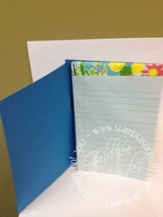 Stampin Up! Jr. Legal Pad Cover with Pen (inside)
