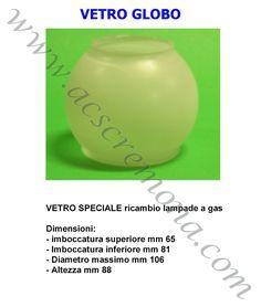 Vetro Lampada Gas GLOBO 106 x 88
