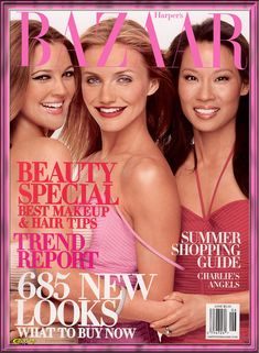 Drew Barrymore, Cameron Diaz, and Lucy Liu for Harper's Bazaar Magazine June 2003 Hair Tips Summer, Charlies Angels Movie, Angel Makeup, Angel Movie, Vogue Magazine Covers, Makeup Drawing, Hair And Makeup Tips, Lucy Liu, Catherine Zeta Jones