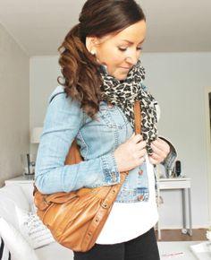 jean jacket and leopard scarf