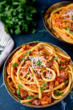 Amatriciana Pasta is a simple but tasty Italian dish, made with bucatini pasta - so good! | Kitchen Sanctuary