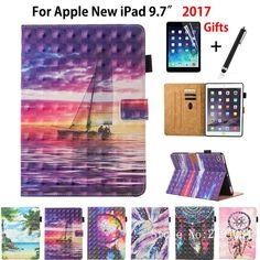 Colorful Case For Apple New iPad 2017 Smart Case Cover Funda Tablet Fashion Cartoon PU Leather Stand Shell+Film+Pen Ipad Air, Apple New, New Ipad, Film, Pu Leather, Shells, Nouvel Ipad, Colorful, Band