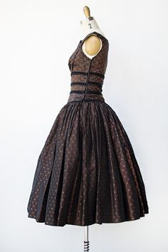 vintage 1950s brown taffeta party dress with velvet trim - Click Image to Close