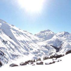 A sunny winter day near Sedrun in Graubünden in the Swiss Alps.
