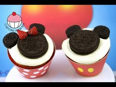 Make SUPER EASY Mickey & Minnie Mouse Cupcakes! A Disney Cupcake How To Tutorial by Cupcake Addicton - YouTube