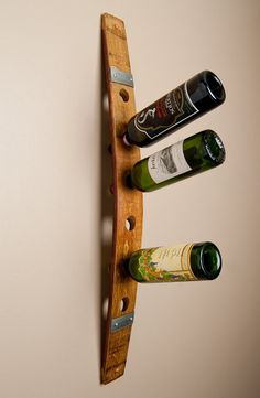 Wall Wine Rack with Metal Bands by alpinewinedesign on Etsy, $70.00