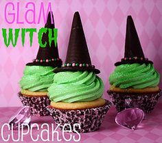Cute witch cupcakes but would also work for a theme party of the wizard of Oz!