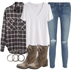 """""""Isaac Inspired Outfit with an Oversized Plaid Shirt"""" by veterization on Polyvore"""