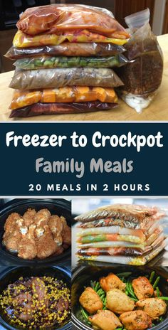 Easy Crock Pot Freezer Meals Family Friendly Food: 20 freezer to crockpot family meals in 2 hours. Family Friendly Food: 20 freezer to crockpot family meals in 2 hours. Slow Cooker Recipes Family, Slow Cooker Freezer Meals, Slow Cooked Meals, Slower Cooker Recipes, Slow Cooker Meal Prep, Freezer Friendly Meals, Freezer Cooking, Easy Family Dinners, Easy Meals