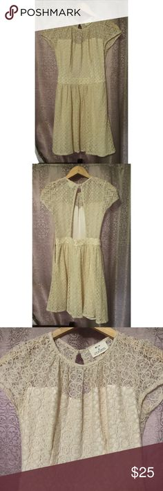 Urban Outfitters Dress Pins and Needles Dress Sz 0 Pre-owned, in excellent condition. Pins and Needles Lace Dress. Ivory. Backless. Side zipper closure. Made in China. Shell: 80% cotton 20% polyester. Lining: 100% Polyester. Pins and Needles Dresses Mini