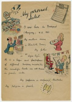 An illustrated letter by Jewish Hungarian Cartoonist Georg Fejer to the United States Immigration department to support his application for a visa. ca 1945. [236 x 331]