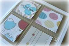 "Using 1"" squares to dress up a card. stampsnsmiles.blogspot.com"