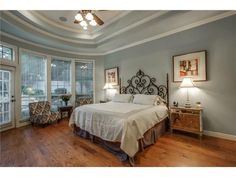 Large master suite // Sitting area // Vaulted ceiling // Love the blue gray paint