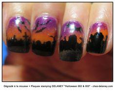 Halloween nails, gradient, cemetery, bats