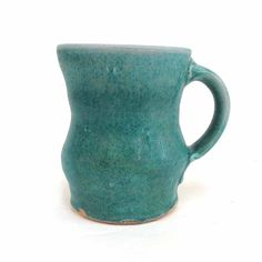 Teal Green Coffee Mug Soda Glazed Stoneware by RonPhilbeckPottery