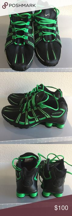 NIKE SHOX (BOSTON CELTIC ) HAD THEM MADE ON NIKE ID (SPECIAL ORDER WITH💲 BOSTON 💲ENGRAVED ON THE SIDES OF THE SHOES 👟👟👟(MENS SIZE 8&1/2) NIKE Shoes Sneakers