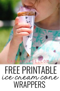 Free printable ice cream cone wrappers! These are fun and will help keep the mess at bay! MichaelsMakers Pretty Providence