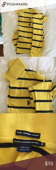 EUC Ralph Lauren long-sleeve polo Pictures don't do justice to the color! Gold and navy striped long-sleeved Ralph Lauren polo shirt. No stains or rips.                                                It is a skinny polo so the medium will be a slim fit. Perfect for football games! Buy before 12pm EST and I'll ship same day. Perfect for bundles. Polo by Ralph Lauren Tops Tees - Long Sleeve