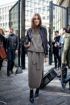 grey combo, jersey skirt and sweater, pointy ankle boots, black boots, bomber jacket, clutch