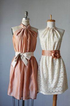 mismatched bridesmaid dresses / Dress / Bridesmaid / Romantic / peach lace cream / Fairy / Dreamy / Bridesmaid / Party / wedding / Bride. $99.99, via Etsy.