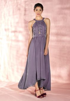 Brave New Whirl Maxi Dress in Lavender Ballroom dancing awaits, and you're eager to engage in the evening's endeavor in this purple dress - a posh part of our ModCloth namesake label! With its pretty high neckline, embroidered bodice, and high-low hem, this beautifully formal maxi swirls with you on the dance floor, allowing your transformative style to make a dramatic statement.