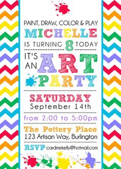 Printable Colorful Rainbow Art Paint Party Birthday Invitation- Digital File Printable Colorful Rainbow Art Paint Party Birthday by CardMeKelly Birthday Painting, Art Birthday, 6th Birthday Parties, Birthday Ideas, Unicorn Birthday, Kids Art Party, Craft Party, Art Kids, Art Party Invitations