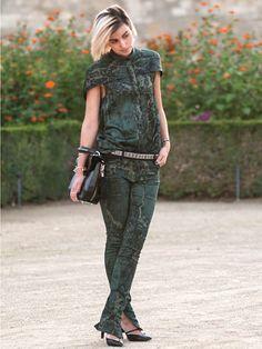 Anne Catherine Frey wearing Balenciaga head-to-toe and an Alexander Wang bag