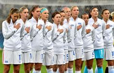 Players of the United States listen to the national anthem before the women's Group G first-round match against New Zealand during the Rio 2016 Olympic Games at Mineirao Stadium on Aug. 3, 2016 in Belo Horizonte, Brazil.