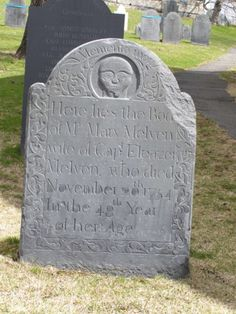 a well preserved gravestone from 1754, Old Hill Burying Ground, Concord, MA