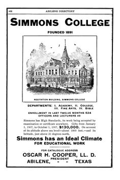 Simmons College ad in 1907-1908 Abilene Texas directory