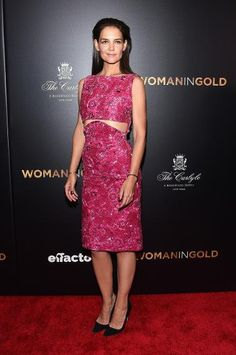 """The actress arrived to the New York premiere of """"The Woman in Gold"""" looking radiant in a pink floral dress."""