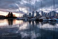 Falls Creek at sunset - Vancouver skyline and harbor at sunset. British Columbia. Canada.