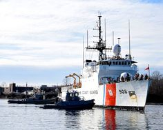The U.S. Coast Guard Cutter Tahoma (WMEC 908) crew prepares to moor at their homeport in Kittery, Maine after conducting 28 at-sea law enforcement boardings and responding to three search and rescue cases resulting in nine lives saved during their 58-day patrol. Coast Guard Cutter, Us Coast Guard, Kittery Maine, Patriotic Poems, Nine Lives, Search And Rescue, Law Enforcement, United States, Military
