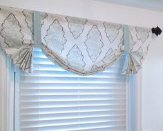 Custom Made TIE UP  VALANCE  Light Blue White by supplierofdreams