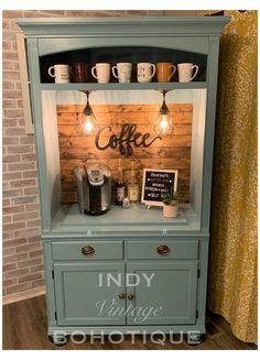 Coffee Nook, Coffee Bar Home, Home Coffee Stations, Coffee Corner, Nyc Coffee, Armoire Makeover, Furniture Makeover, Armoire Redo, Furniture Refinishing