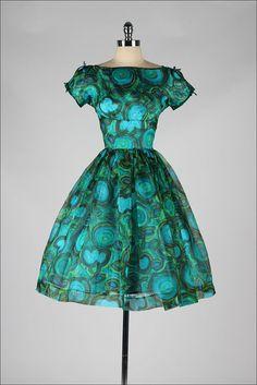 vintage 1960s dress . peacock swirls . Ann by millstreetvintage