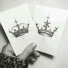his and her crown tattoo designs , seine und ihre krone tattoo designs , Paar Tattoos, Neue Tattoos, Tattoo Drawings, Body Art Tattoos, Tatoos, King Tattoos, Sketch Tattoo, Tattoo Ink, Mrs Tattoo