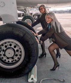 Two Female Flight Attendants in black dress & black pantyhose Black Pantyhose, Black Tights, Nylons, Spieth Und Wensky, Flight Attendant Hot, Flight Girls, Female Pilot, Hommes Sexy, Great Legs