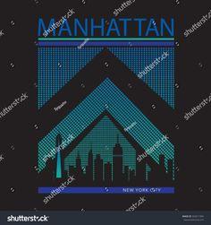 Manhattan New york typography, t-shirt graphics, vectors