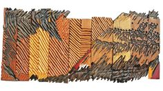 EL ANATSUI (b.1944) FLIGHT 1989 Oil on wood panels 25.4 x 119.4 cm. (10 x 47 in.)