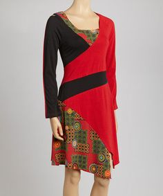 Take a look at this Red & Black Graphic Dress by Coline USA on #zulily today!