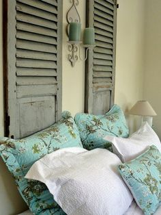 Old Shutters in bedroom, so cute for a new headboard. Now where do I get old shutters from? Home Bedroom, Bedroom Decor, Master Bedroom, Bedroom Ideas, Wall Decor, Bedroom Inspiration, Wall Art, Home Interior, Interior Design