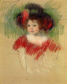 Margot in Big Bonnet and Red Dress 1902 by Mary Cassatt