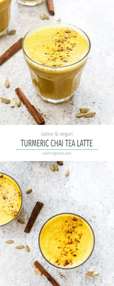 ThisTurmeric Chai Tea Latte is an easy and nourishing morning beverage! It has a boost of caffeine from black tea, a creamy sweetness, health enhancing turmeric, and a perfectly balanced spice mix. It is vegan, paleo, dairy free, coffee free, and gluten free! | CatchingSeeds.com