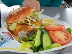 Barb's Fish and Chips Floating Seafood Restaurant, Victoria, BC - tasty deep fried oyster burger in scenic Fisherman's Wharf Deep Fried Oysters, Seafood Restaurant, Fish And Chips, Yummy Snacks, Salmon Burgers, Fries, Restaurants, Tasty, Victoria