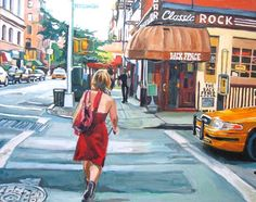 Red Dress Bleecker Street, White or Black Wood Frame The Back Fence New York Greenwich Village Painting Print by Gwen Meyerson Blue Painting, Fence Painting, Shop Red Dress, Red Street, Bleecker Street, Nyc Art, New York Art, Black Wood, White Wood
